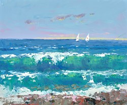 Blue Sea by James Preston - Original Painting on Stretched Canvas sized 12x10 inches. Available from Whitewall Galleries